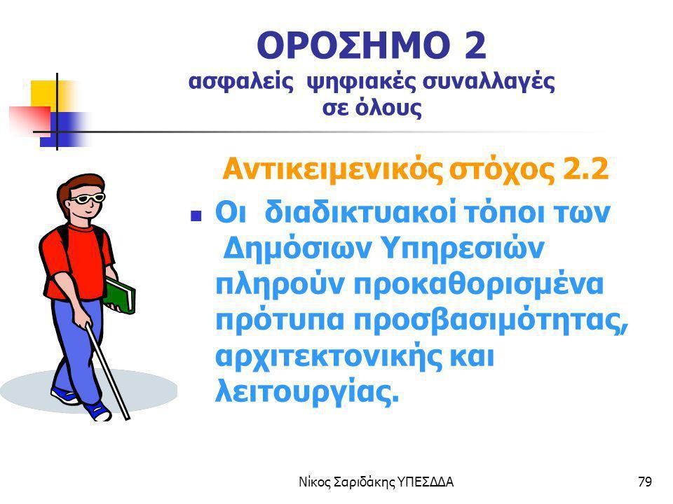 Νίκος Σαριδάκης ΥΠΕΣΔΔΑ79 ΟΡΟΣΗΜΟ 2 ασφαλείς ψηφιακές συναλλαγές σε όλους Αντικειμενικός στόχος 2.2 Οι διαδικτυακοί τόποι των Δημόσιων Υπηρεσιών πληρο