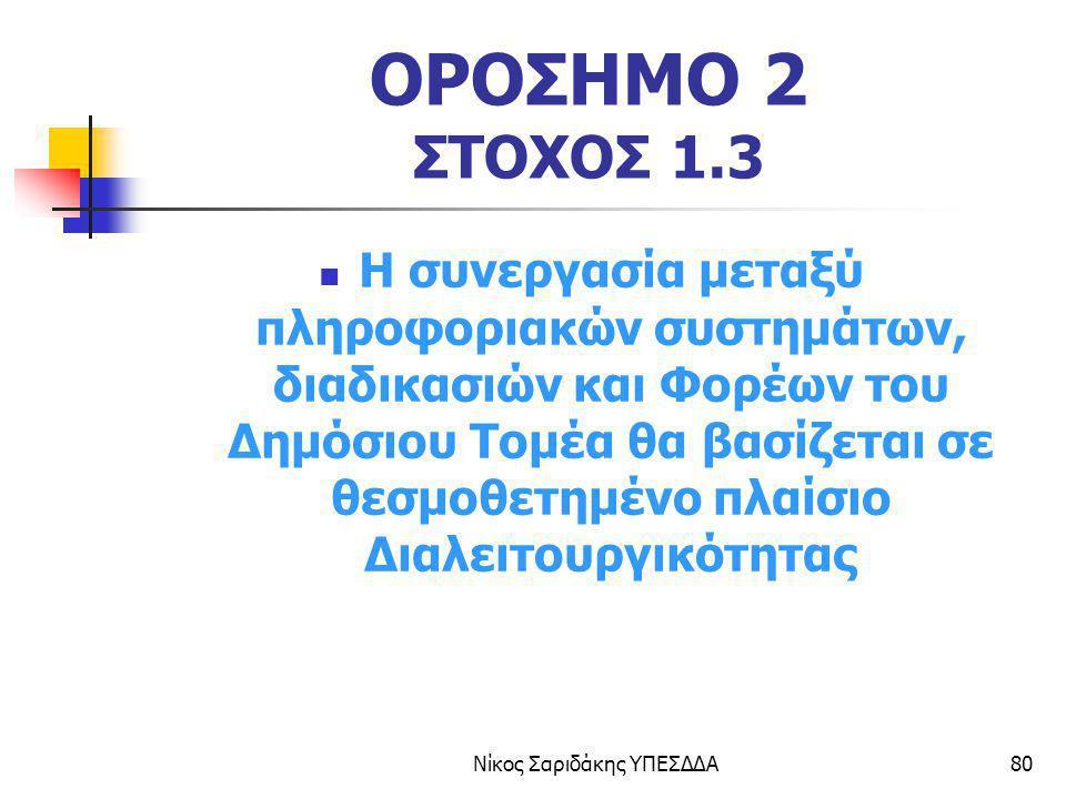 Νίκος Σαριδάκης ΥΠΕΣΔΔΑ80 ΟΡΟΣΗΜΟ 2 ΣΤΟΧΟΣ 1.3 Η συνεργασία μεταξύ πληροφοριακών συστημάτων, διαδικασιών και Φορέων του Δημόσιου Τομέα θα βασίζεται σε