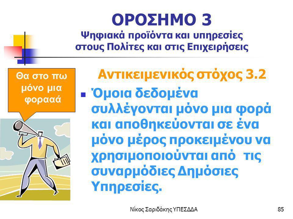 Νίκος Σαριδάκης ΥΠΕΣΔΔΑ85 ΟΡΟΣΗΜΟ 3 Ψηφιακά προϊόντα και υπηρεσίες στους Πολίτες και στις Επιχειρήσεις Αντικειμενικός στόχος 3.2 Όμοια δεδομένα συλλέγ