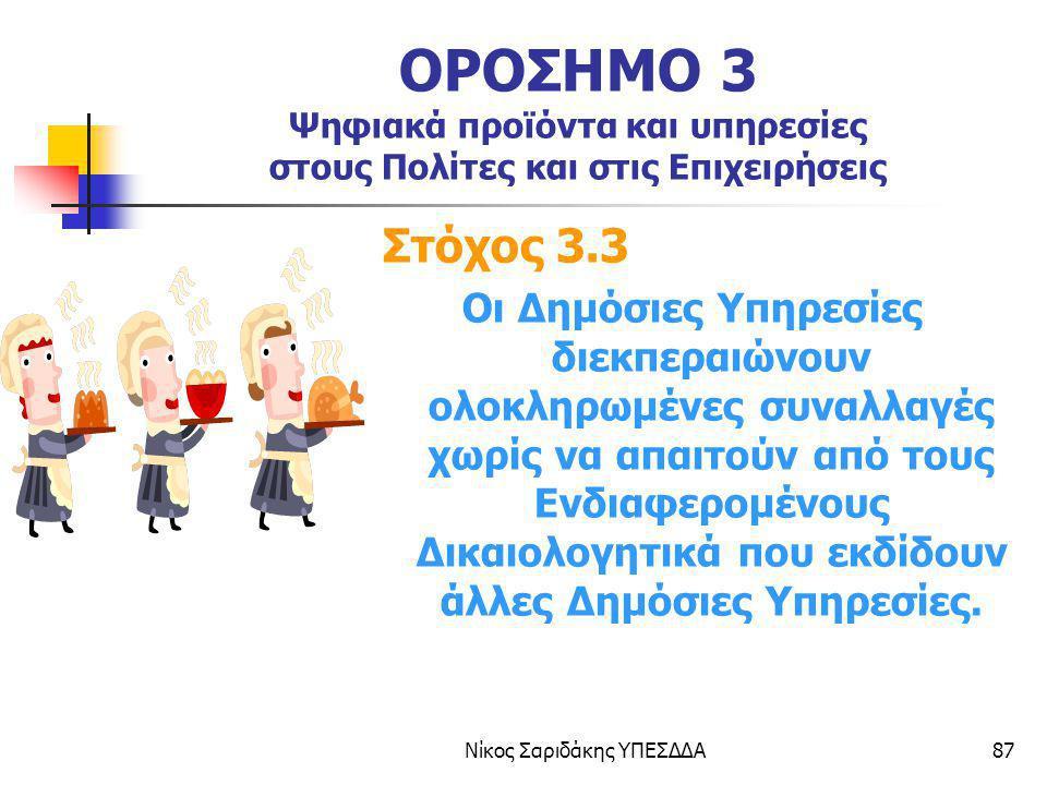 Νίκος Σαριδάκης ΥΠΕΣΔΔΑ87 ΟΡΟΣΗΜΟ 3 Ψηφιακά προϊόντα και υπηρεσίες στους Πολίτες και στις Επιχειρήσεις Στόχος 3.3 Οι Δημόσιες Υπηρεσίες διεκπεραιώνουν