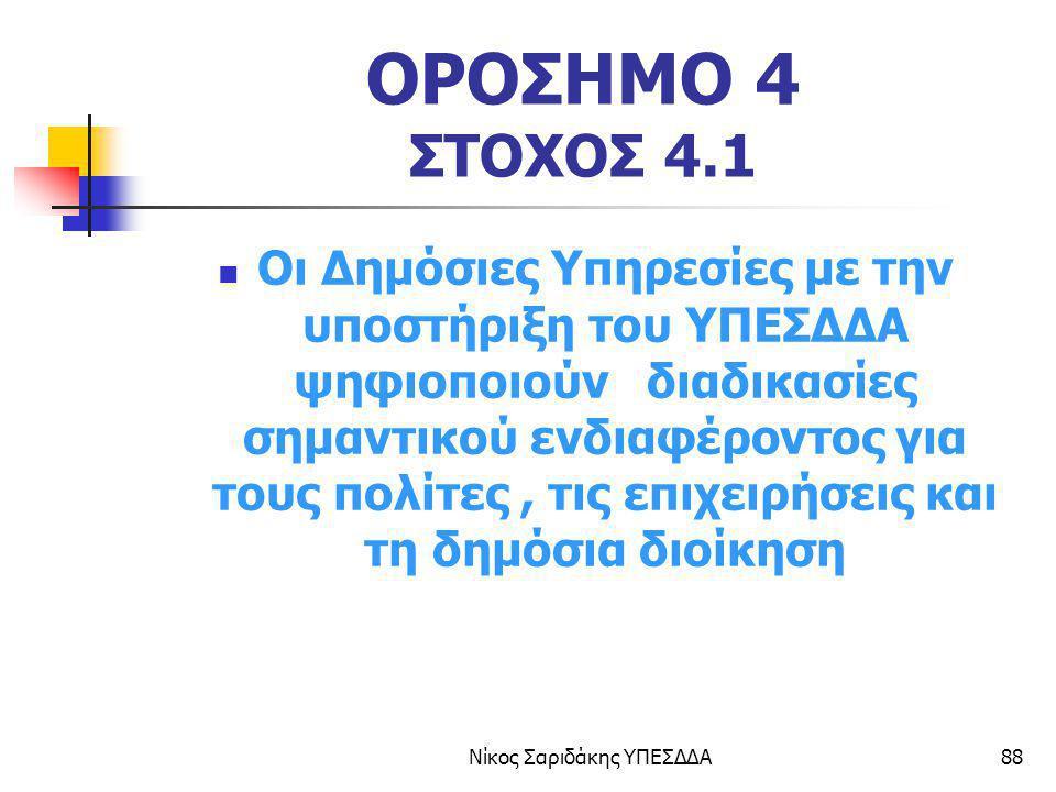 Νίκος Σαριδάκης ΥΠΕΣΔΔΑ88 ΟΡΟΣΗΜΟ 4 ΣΤΟΧΟΣ 4.1 Οι Δημόσιες Υπηρεσίες με την υποστήριξη του ΥΠΕΣΔΔΑ ψηφιοποιούν διαδικασίες σημαντικού ενδιαφέροντος γι