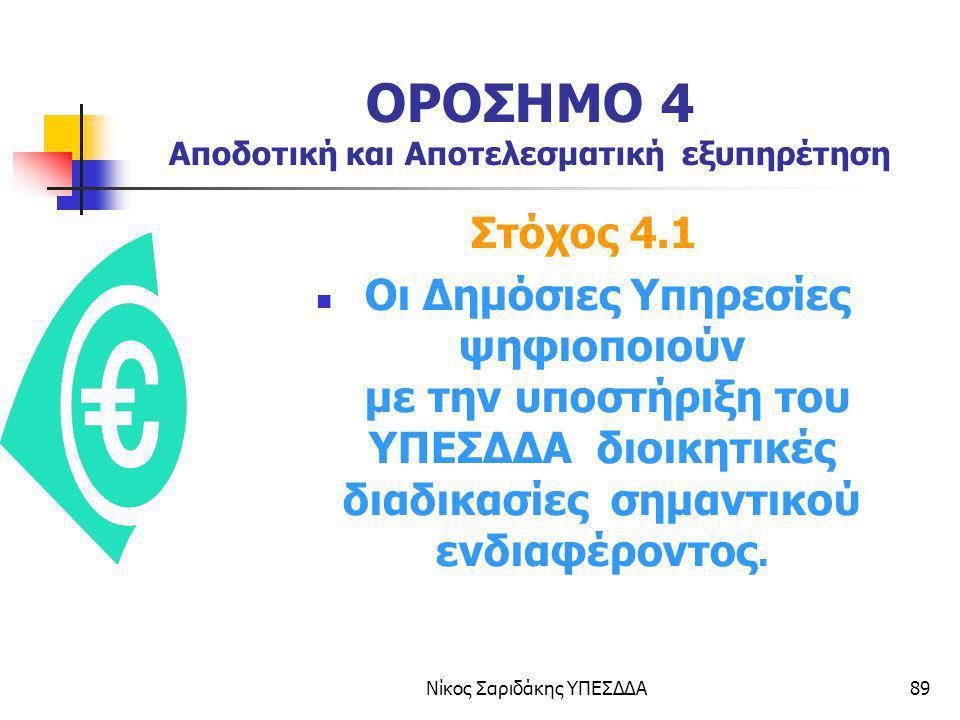 Νίκος Σαριδάκης ΥΠΕΣΔΔΑ89 ΟΡΟΣΗΜΟ 4 Αποδοτική και Αποτελεσματική εξυπηρέτηση Στόχος 4.1 Οι Δημόσιες Υπηρεσίες ψηφιοποιούν με την υποστήριξη του ΥΠΕΣΔΔ