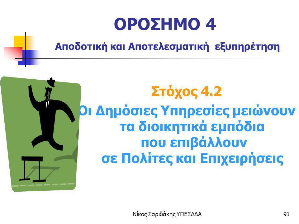 Νίκος Σαριδάκης ΥΠΕΣΔΔΑ91 ΟΡΟΣΗΜΟ 4 Αποδοτική και Αποτελεσματική εξυπηρέτηση Στόχος 4.2 Οι Δημόσιες Υπηρεσίες μειώνουν τα διοικητικά εμπόδια που επιβά