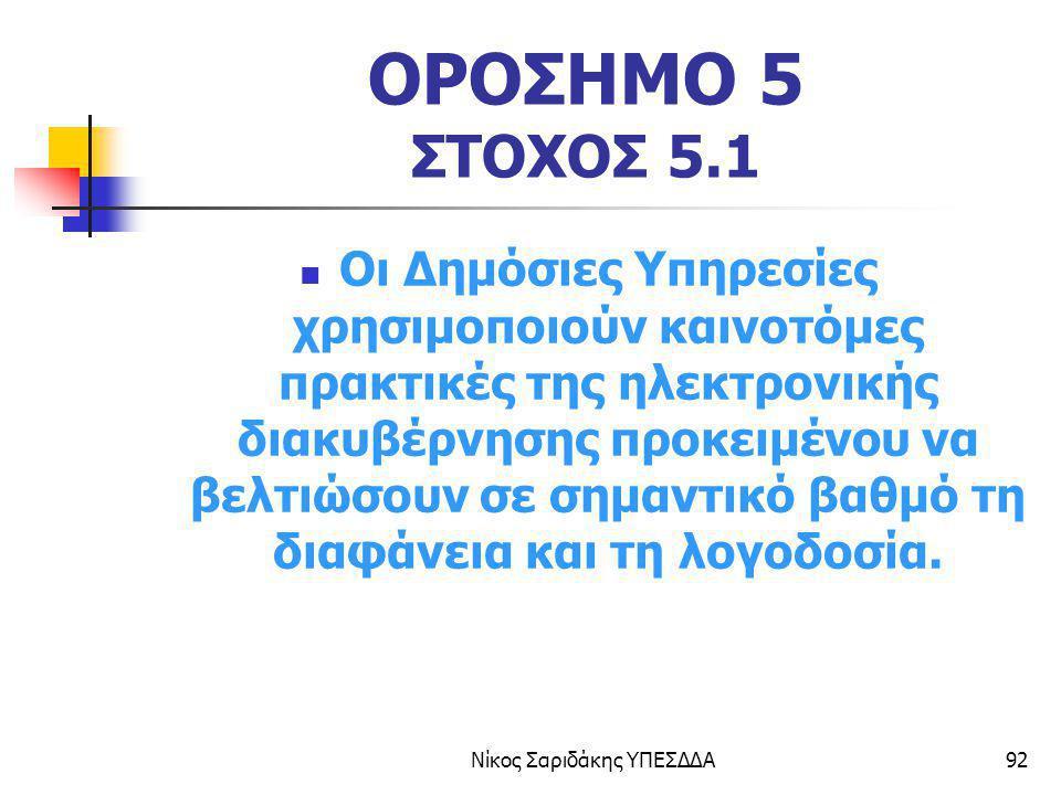Νίκος Σαριδάκης ΥΠΕΣΔΔΑ92 ΟΡΟΣΗΜΟ 5 ΣΤΟΧΟΣ 5.1 Οι Δημόσιες Υπηρεσίες χρησιμοποιούν καινοτόμες πρακτικές της ηλεκτρονικής διακυβέρνησης προκειμένου να