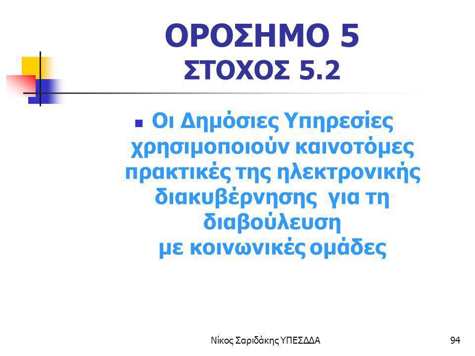 Νίκος Σαριδάκης ΥΠΕΣΔΔΑ94 ΟΡΟΣΗΜΟ 5 ΣΤΟΧΟΣ 5.2 Οι Δημόσιες Υπηρεσίες χρησιμοποιούν καινοτόμες πρακτικές της ηλεκτρονικής διακυβέρνησης για τη διαβούλε
