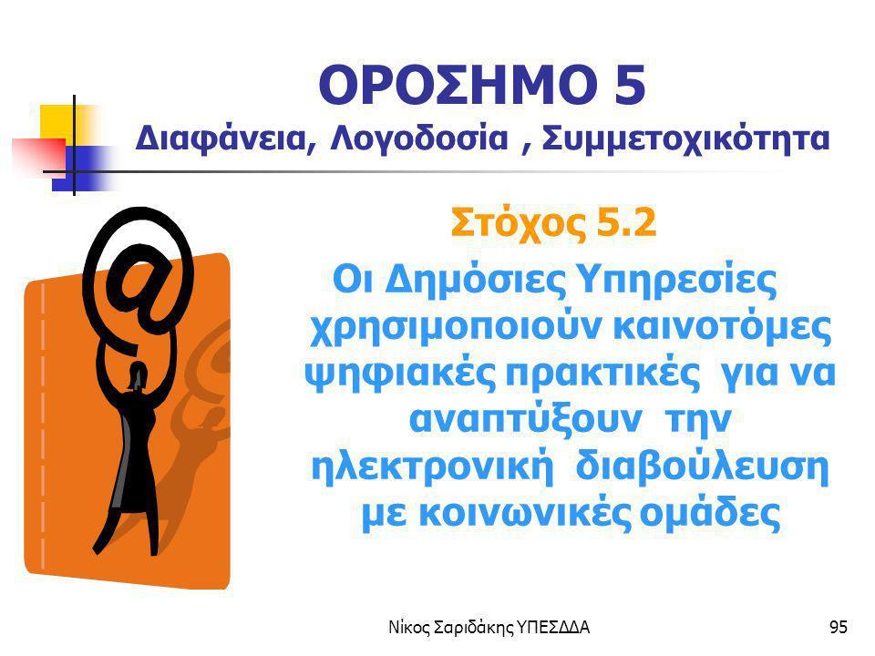 Νίκος Σαριδάκης ΥΠΕΣΔΔΑ95 ΟΡΟΣΗΜΟ 5 Διαφάνεια, Λογοδοσία, Συμμετοχικότητα Στόχος 5.2 Οι Δημόσιες Υπηρεσίες χρησιμοποιούν καινοτόμες ψηφιακές πρακτικές