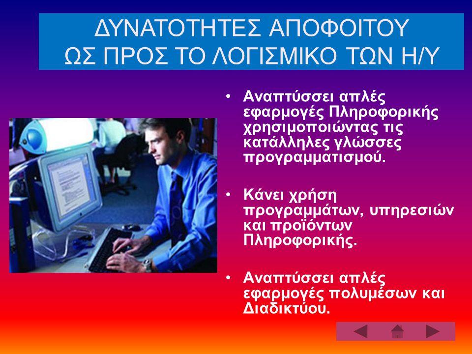 Αναπτύσσει απλές εφαρμογές Πληροφορικής χρησιμοποιώντας τις κατάλληλες γλώσσες προγραμματισμού.
