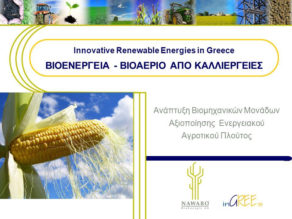 1 Innovative Renewable Energies in Greece ΒΙΟΕΝΕΡΓΕΙΑ - ΒΙΟΑΕΡΙΟ ΑΠΟ ΚΑΛΛΙΕΡΓΕΙΕΣ Ανάπτυξη Βιομηχανικών Μονάδων Αξιοποίησης Ενεργειακού Αγροτικού Πλού