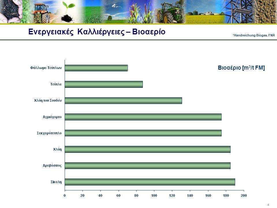 4 Ενεργειακές Καλλιέργειες – Βιοαερίο Βιοαέριο [m 3 /t FM] *Handreichung Biogas, FNR