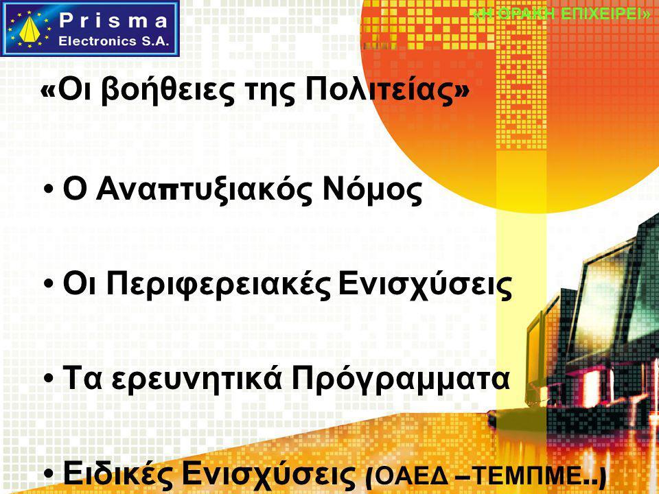 « Οι βοήθειες της Πολιτείας » Ο Ανα π τυξιακός Νόμος Οι Περιφερειακές Ενισχύσεις Τα ερευνητικά Πρόγραμματα Ειδικές Ενισχύσεις ( ΟΑΕΔ – ΤΕΜΠΜΕ..) «Η ΘΡ