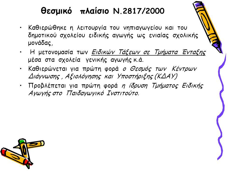 θεσμικό πλαίσιο Ν.2817/2000 Καθιερώθηκε η λειτουργία του νηπιαγωγείου και του δημοτικού σχολείου ειδικής αγωγής ως ενιαίας σχολικής μονάδας, Η μετονομασία των Ειδικών Τάξεων σε Τμήματα Ένταξης μέσα στα σχολεία γενικής αγωγής κ.ά.