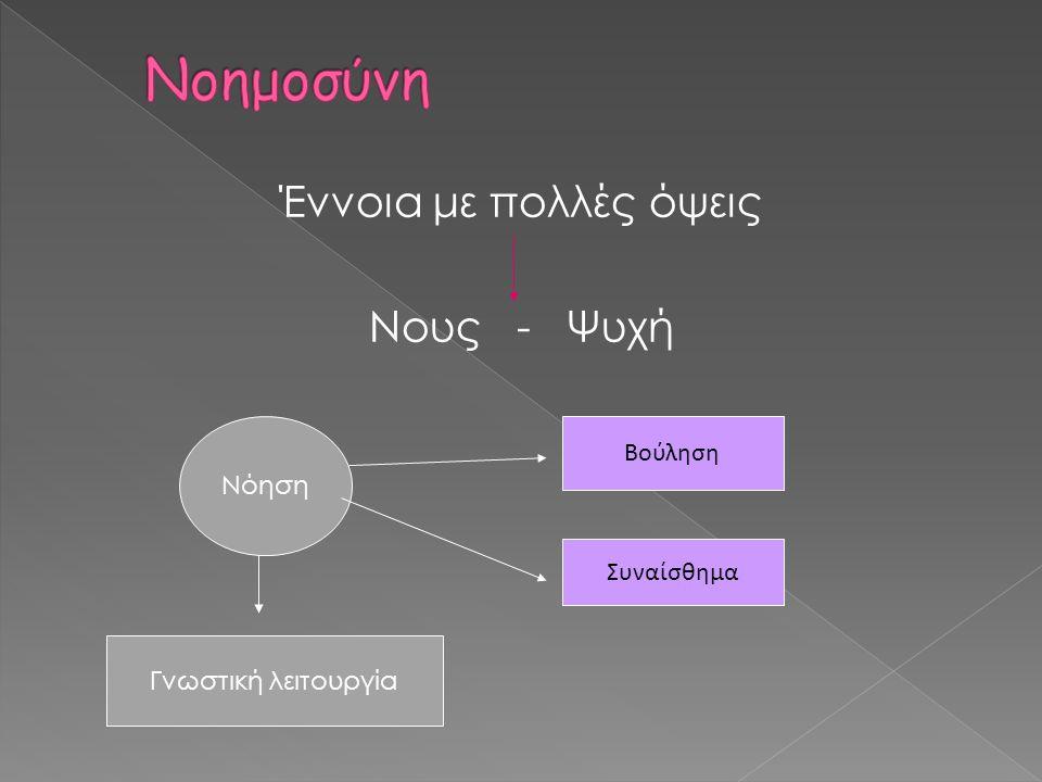 Έννοια με πολλές όψεις Νους - Ψυχή Νόηση Γνωστική λειτουργία Βούληση Συναίσθημα