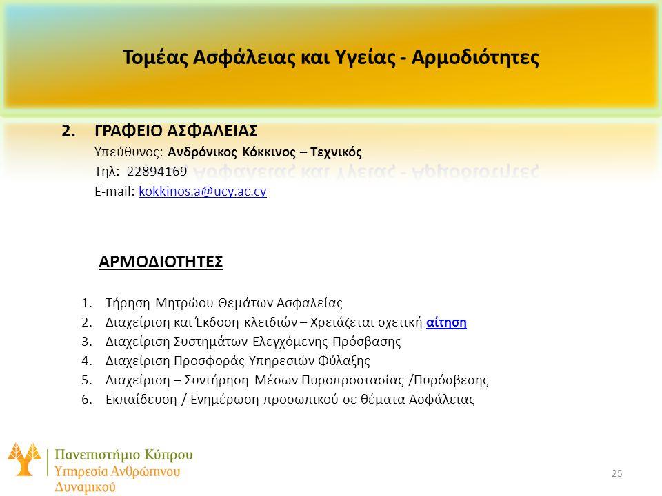 25 2.ΓΡΑΦΕΙΟ ΑΣΦΑΛΕΙΑΣ Υπεύθυνος: Ανδρόνικος Κόκκινος – Τεχνικός Τηλ: 22894169 E-mail: kokkinos.a@ucy.ac.cykokkinos.a@ucy.ac.cy ΑΡΜΟΔΙΟΤΗΤΕΣ 1.
