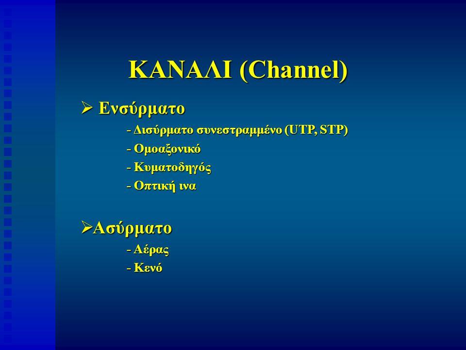 ΚΑΝΑΛΙ (Channel)  Ενσύρματο - Δισύρματο συνεστραμμένο (UTP, STP) - Ομοαξονικό - Κυματοδηγός - Οπτική ινα  Ασύρματο - Αέρας - Κενό