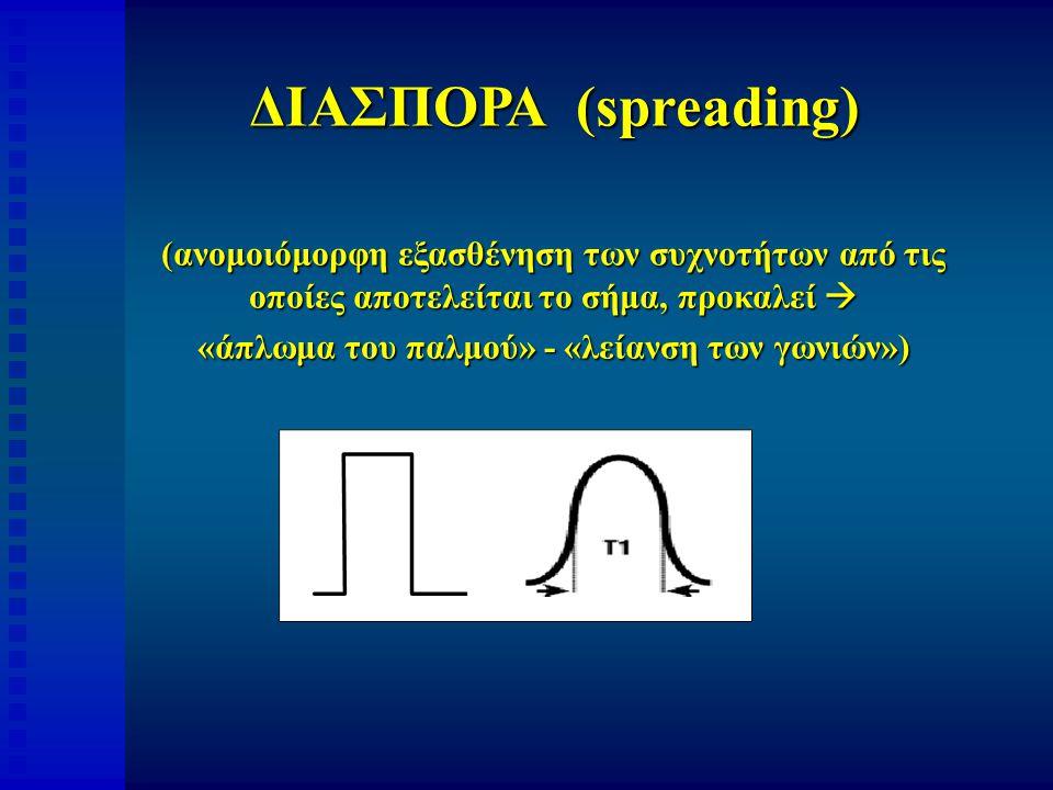 ΔΙΑΣΠΟΡΑ (spreading) (ανομοιόμορφη εξασθένηση των συχνοτήτων από τις οποίες αποτελείται το σήμα, προκαλεί  «άπλωμα του παλμού» - «λείανση των γωνιών»)