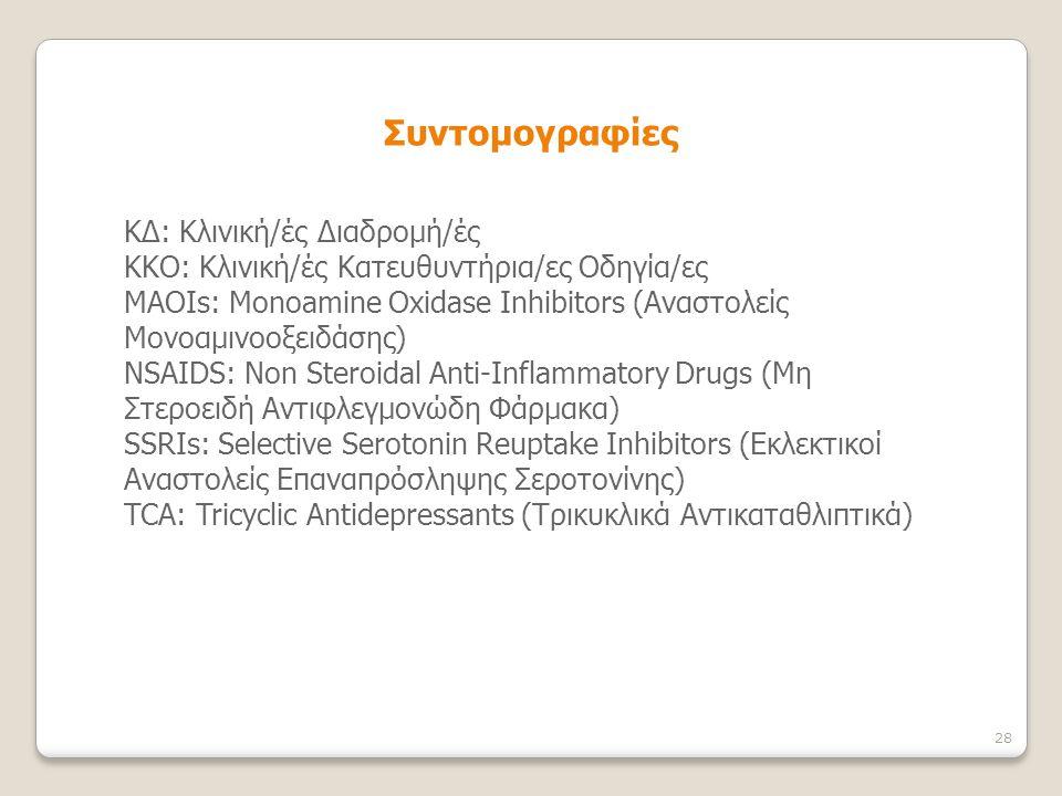 ΚΔ: Κλινική/ές Διαδρομή/ές ΚΚΟ: Κλινική/ές Κατευθυντήρια/ες Οδηγία/ες MAOIs: Monoamine Oxidase Inhibitors (Aναστολείς Μονοαμινοοξειδάσης) NSAIDS: Non