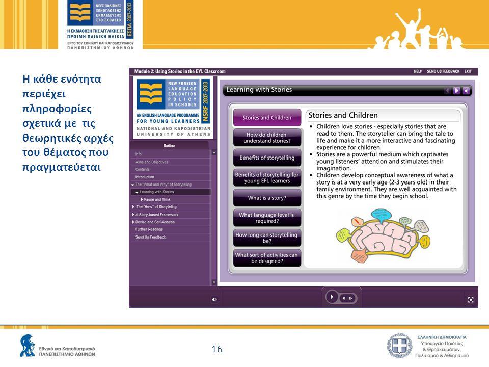 16 Η κάθε ενότητα περιέχει πληροφορίες σχετικά με τις θεωρητικές αρχές του θέματος που πραγματεύεται