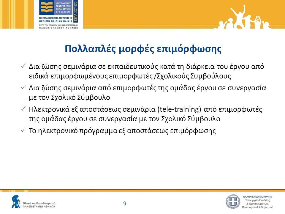 9 Πολλαπλές μορφές επιμόρφωσης Δια ζώσης σεμινάρια σε εκπαιδευτικούς κατά τη διάρκεια του έργου από ειδικά επιμορφωμένους επιμορφωτές /Σχολικούς Συμβούλους Δια ζώσης σεμινάρια από επιμορφωτές της ομάδας έργου σε συνεργασία με τον Σχολικό Σύμβουλο Ηλεκτρονικά εξ αποστάσεως σεμινάρια (tele-training) από επιμορφωτές της ομάδας έργου σε συνεργασία με τον Σχολικό Σύμβουλο Το ηλεκτρονικό πρόγραμμα εξ αποστάσεως επιμόρφωσης