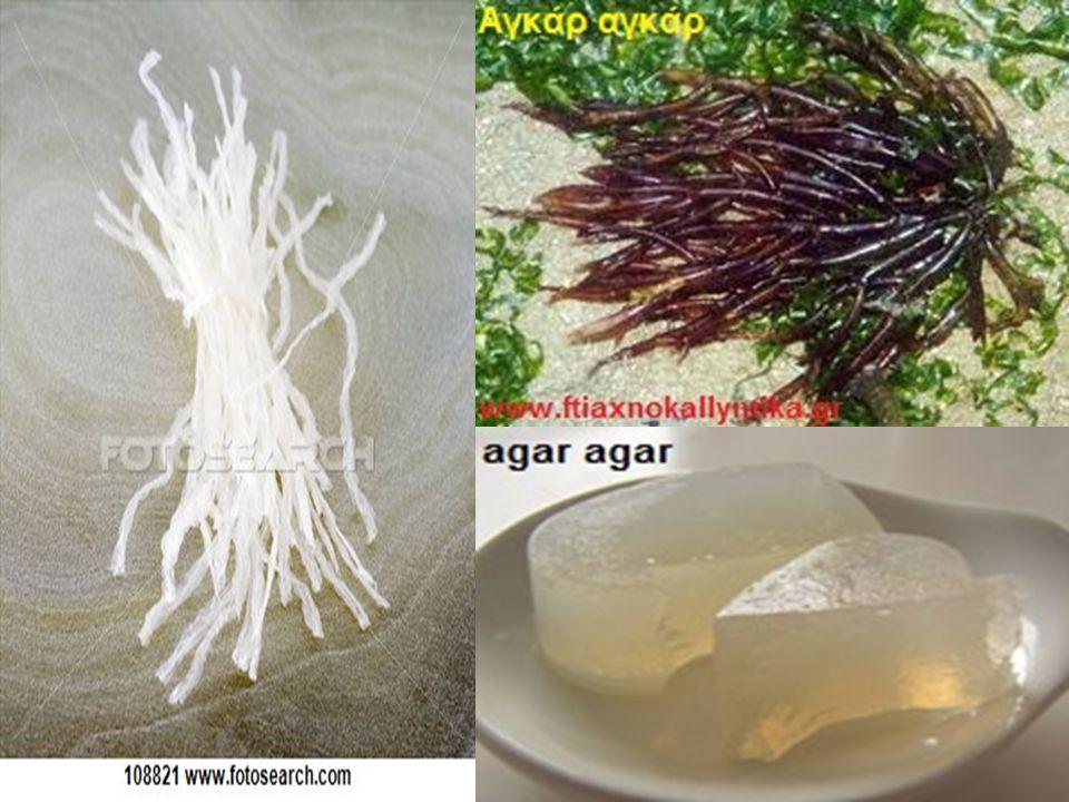 Agar agar : Έχει μια ζελατινώδη συμπαγή υφή που μετατρέπεται σε ένα άριστο πηκτικό για πουτίγκες, ζελέδες, μαρμελάδες ή επικαλύψεις σε τούρτες με φρού