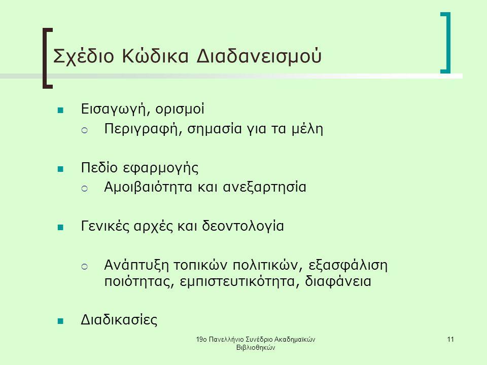 19ο Πανελλήνιο Συνέδριο Ακαδημαϊκών Βιβλιοθηκών 11 Σχέδιο Κώδικα Διαδανεισμού Εισαγωγή, ορισμοί  Περιγραφή, σημασία για τα μέλη Πεδίο εφαρμογής  Αμοιβαιότητα και ανεξαρτησία Γενικές αρχές και δεοντολογία  Ανάπτυξη τοπικών πολιτικών, εξασφάλιση ποιότητας, εμπιστευτικότητα, διαφάνεια Διαδικασίες