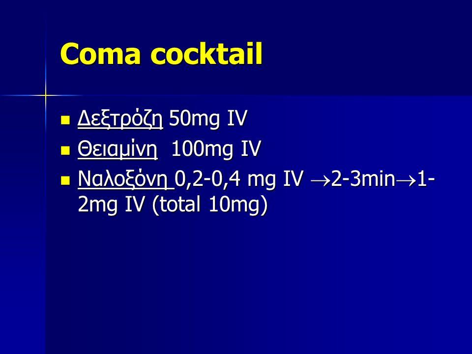 Coma cocktail Δεξτρόζη 50mg IV Δεξτρόζη 50mg IV Θειαμίνη 100mg IV Θειαμίνη 100mg IV Ναλοξόνη 0,2-0,4 mg IV  2-3min  1- 2mg IV (total 10mg) Ναλοξόνη