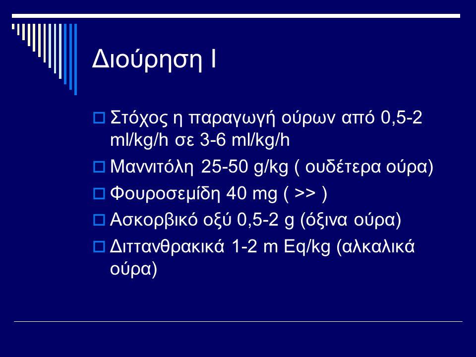 Διούρηση Ι  Στόχος η παραγωγή ούρων από 0,5-2 ml/kg/h σε 3-6 ml/kg/h  Μαννιτόλη 25-50 g/kg ( ουδέτερα ούρα)  Φουροσεμίδη 40 mg ( >> )  Ασκορβικό ο