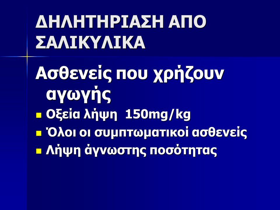 ΔΗΛΗΤΗΡΙΑΣΗ ΑΠΟ ΣΑΛΙΚΥΛΙΚΑ Ασθενείς που χρήζουν αγωγής Οξεία λήψη 150mg/kg Οξεία λήψη 150mg/kg Όλοι οι συμπτωματικοί ασθενείς Όλοι οι συμπτωματικοί ασ