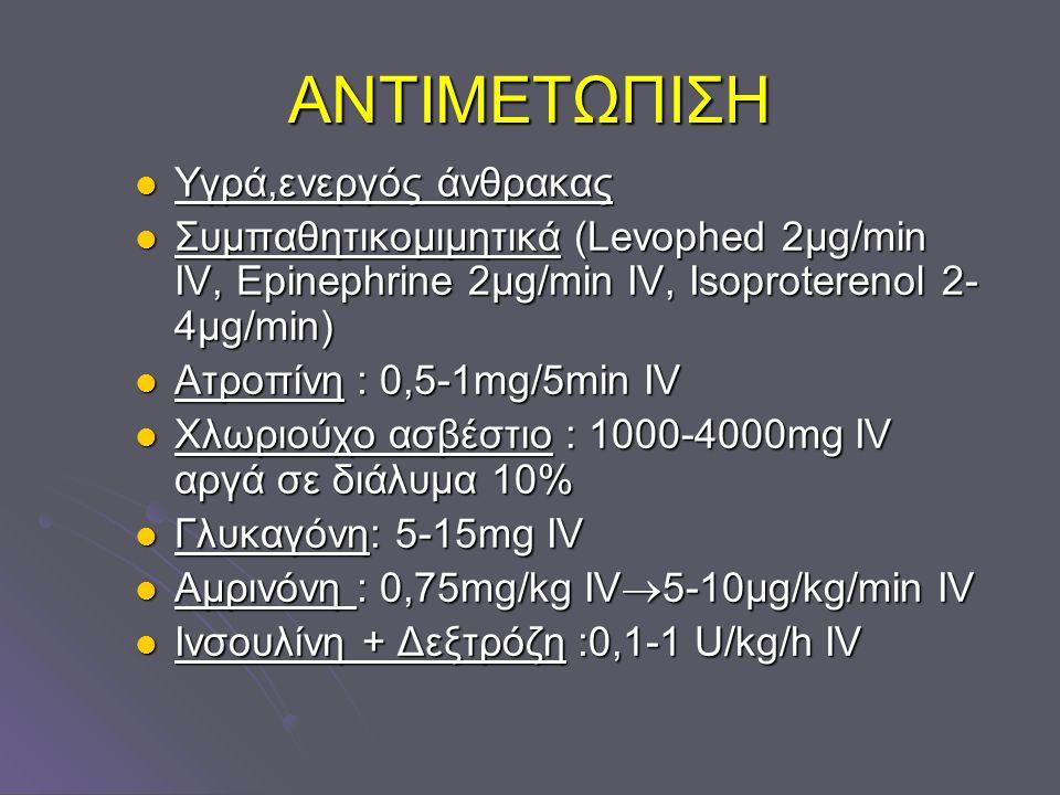 ΑΝΤΙΜΕΤΩΠΙΣΗ Υγρά,ενεργός άνθρακας Υγρά,ενεργός άνθρακας Συμπαθητικομιμητικά (Levophed 2μg/min IV, Epinephrine 2μg/min IV, Isoproterenol 2- 4μg/min) Σ