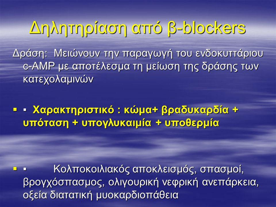 Δηλητηρίαση από β-blockers Δράση: Μειώνουν την παραγωγή του ενδοκυττάριου c-AMP με αποτέλεσμα τη μείωση της δράσης των κατεχολαμινών  ▪ Χαρακτηριστικ