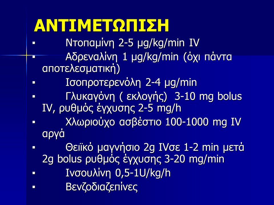 ΑΝΤΙΜΕΤΩΠΙΣΗ ▪ Ντοπαμίνη 2-5 μg/kg/min IV ▪ Αδρεναλίνη 1 μg/kg/min (όχι πάντα αποτελεσματική) ▪ Ισοπροτερενόλη 2-4 μg/min ▪ Γλυκαγόνη ( εκλογής) 3-10