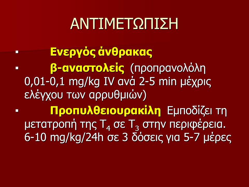 ΑΝΤΙΜΕΤΩΠΙΣΗ ▪ Ενεργός άνθρακας ▪ β-αναστολείς (προπρανολόλη 0,01-0,1 mg/kg IV ανά 2-5 min μέχρις ελέγχου των αρρυθμιών) ▪ Προπυλθειουρακίλη Εμποδίζει