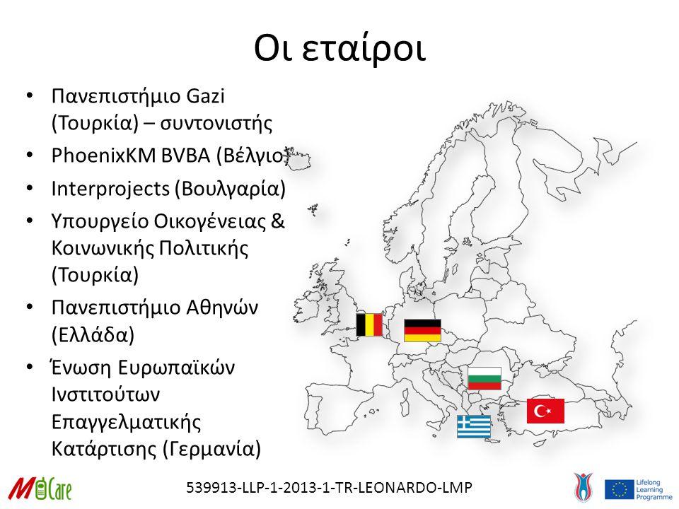 539913-LLP-1-2013-1-TR-LEONARDO-LMP Οι εταίροι Πανεπιστήμιο Gazi (Τουρκία) – συντονιστής PhoenixKM BVBA (Βέλγιο) Interprojects (Βουλγαρία) Υπουργείο Οικογένειας & Κοινωνικής Πολιτικής (Τουρκία) Πανεπιστήμιο Αθηνών (Ελλάδα) Ένωση Ευρωπαϊκών Ινστιτούτων Επαγγελματικής Κατάρτισης (Γερμανία)