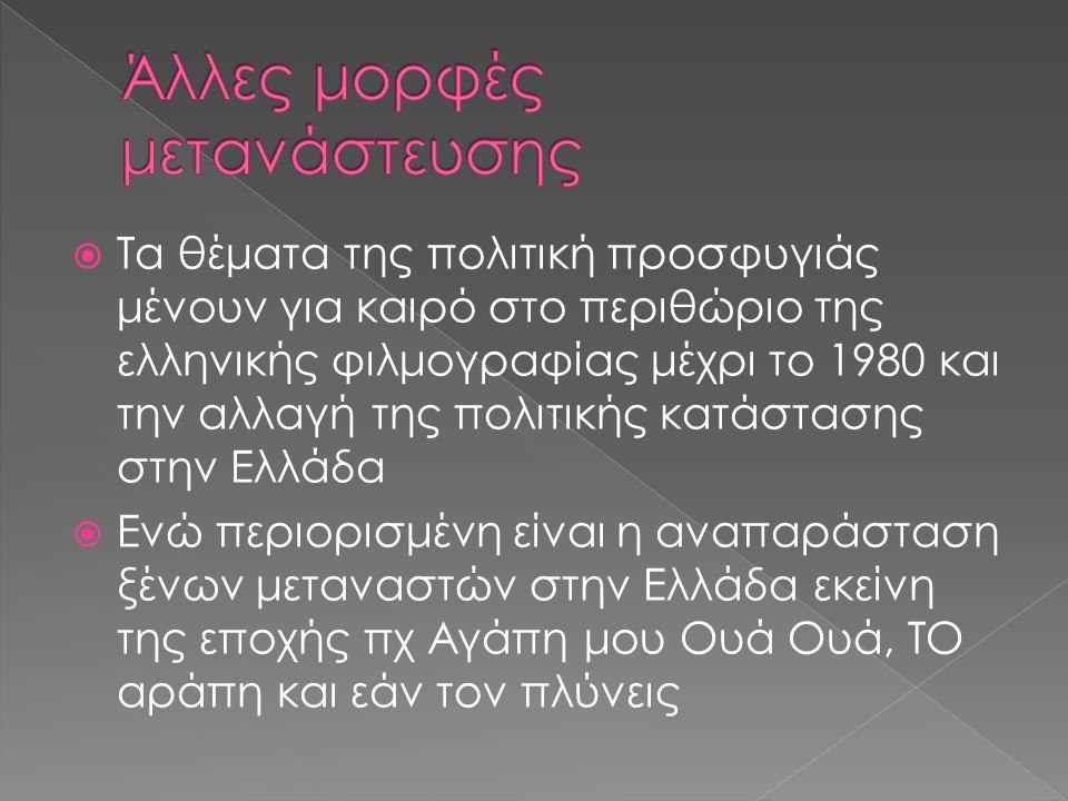  Τα θέματα της πολιτική προσφυγιάς μένουν για καιρό στο περιθώριο της ελληνικής φιλμογραφίας μέχρι το 1980 και την αλλαγή της πολιτικής κατάστασης στην Ελλάδα  Ενώ περιορισμένη είναι η αναπαράσταση ξένων μεταναστών στην Ελλάδα εκείνη της εποχής πχ Αγάπη μου Ουά Ουά, ΤΟ αράπη και εάν τον πλύνεις