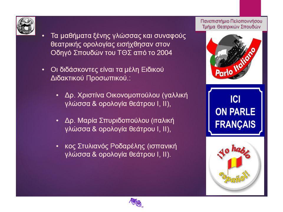Πανεπιστήμιο Πελοποννήσου Τμήμα Θεατρικών Σπουδών Πανεπιστήμιο Πελοποννήσου Τμήμα Θεατρικών Σπουδών Τα μαθήματα ξένης γλώσσας και συναφούς θεατρικής ορολογίας εισήχθησαν στον Οδηγό Σπουδών του ΤΘΣ από το 2004 Οι διδάσκοντες είναι τα μέλη Ειδικού Διδακτικού Προσωπικού.: Δρ.