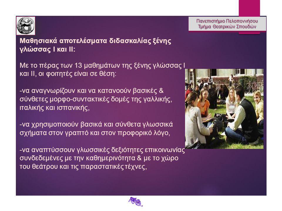 Πανεπιστήμιο Πελοποννήσου Τμήμα Θεατρικών Σπουδών Πανεπιστήμιο Πελοποννήσου Τμήμα Θεατρικών Σπουδών Μαθησιακά αποτελέσματα διδασκαλίας ξένης γλώσσας Ι και ΙΙ: Με το πέρας των 13 μαθημάτων της ξένης γλώσσας Ι και ΙΙ, οι φοιτητές είναι σε θέση: -να αναγνωρίζουν και να κατανοούν βασικές & σύνθετες μορφο-συντακτικές δομές της γαλλικής, ιταλικής και ισπανικής, -να χρησιμοποιούν βασικά και σύνθετα γλωσσικά σχήματα στον γραπτό και στον προφορικό λόγο, -να αναπτύσσουν γλωσσικές δεξιότητες επικοινωνίας συνδεδεμένες με την καθημερινότητα & με το χώρο του θεάτρου και τις παραστατικές τέχνες,