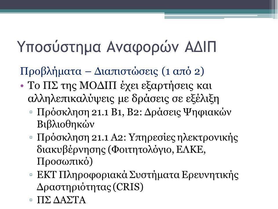 Προβλήματα – Διαπιστώσεις (1 από 2) Το ΠΣ της ΜΟΔΙΠ έχει εξαρτήσεις και αλληλεπικαλύψεις με δράσεις σε εξέλιξη ▫Πρόσκληση 21.1 Β1, Β2: Δράσεις Ψηφιακώ