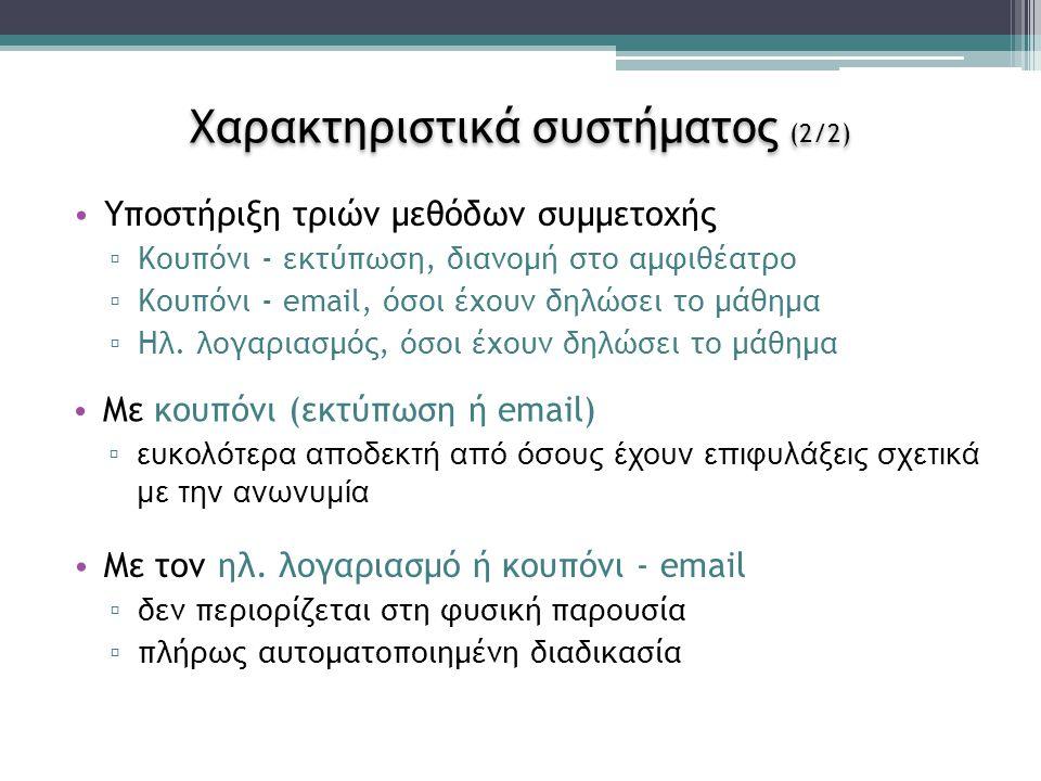 Χαρακτηριστικά συστήματος (2/2) Υποστήριξη τριών μεθόδων συμμετοχής ▫ Κουπόνι - εκτύπωση, διανομή στο αμφιθέατρο ▫ Κουπόνι - email, όσοι έχουν δηλώσει