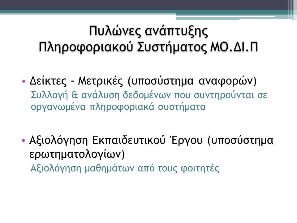 Υποσύστημα Αναφορών ΑΔΙΠ (http://reports.modip.uoa.gr/)http://reports.modip.uoa.gr/ Σκοπός ▫Συμπλήρωση των πινάκων της ΑΔΙΠ ▫Υιοθέτηση κοινής εννοιολογικής βάσης και ερμηνείας των κριτηρίων και δεικτών ▫Καλύτερος συντονισμός ΜΟΔΙΠ-Τμημάτων, επανασχεδιασμός της διαδικασίας