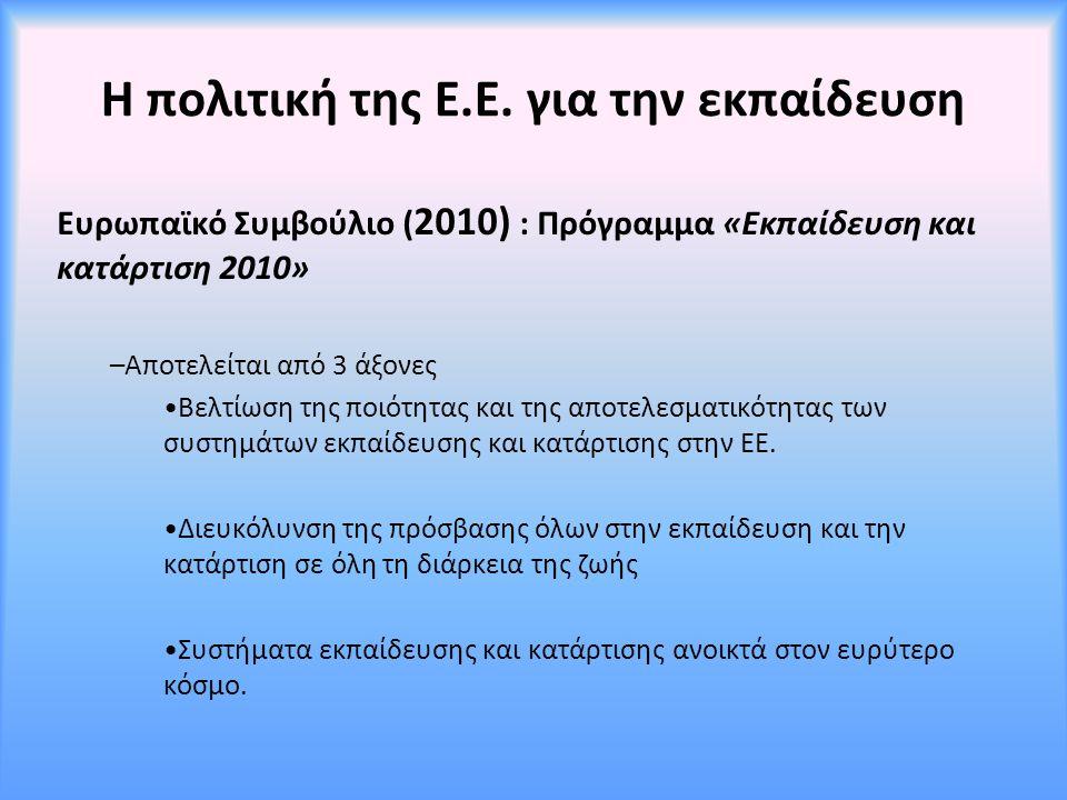 Η πολιτική της Ε.Ε. για την εκπαίδευση Ευρωπαϊκό Συμβούλιο ( 2010) : Πρόγραμμα «Εκπαίδευση και κατάρτιση 2010» –Αποτελείται από 3 άξονες Βελτίωση της
