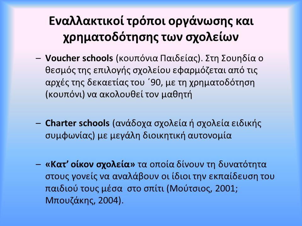 Εναλλακτικοί τρόποι οργάνωσης και χρηματοδότησης των σχολείων –Voucher schools (κουπόνια Παιδείας). Στη Σουηδία ο θεσμός της επιλογής σχολείου εφαρμόζ