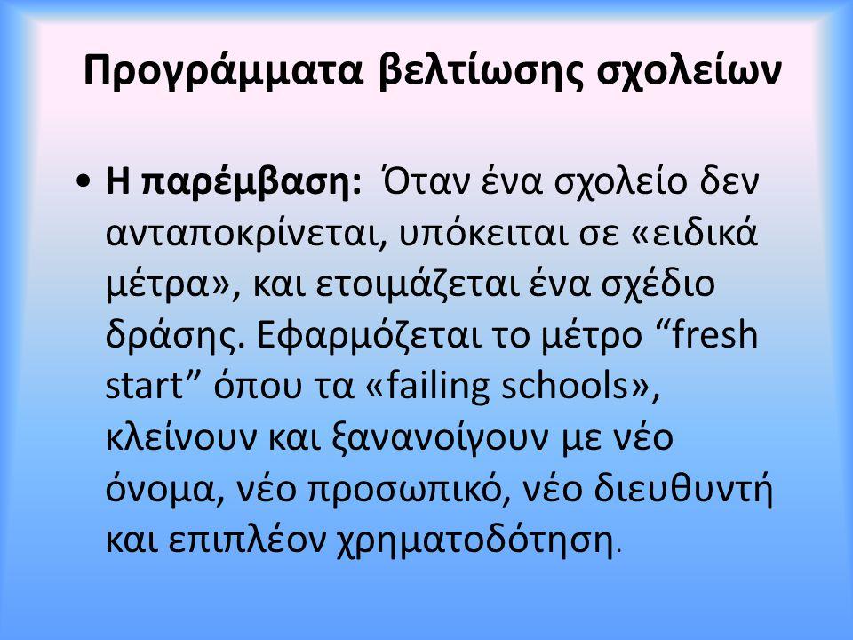Προγράμματα βελτίωσης σχολείων Η παρέμβαση: Όταν ένα σχολείο δεν ανταποκρίνεται, υπόκειται σε «ειδικά μέτρα», και ετοιμάζεται ένα σχέδιο δράσης. Εφαρμ