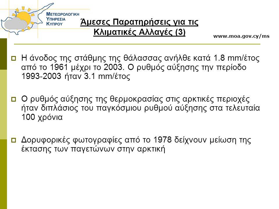 www.moa.gov.cy/ms Άμεσες Παρατηρήσεις για τις Κλιματικές Αλλαγές (3)  Η άνοδος της στάθμης της θάλασσας ανήλθε κατά 1.8 mm/έτος από το 1961 μέχρι το 2003.