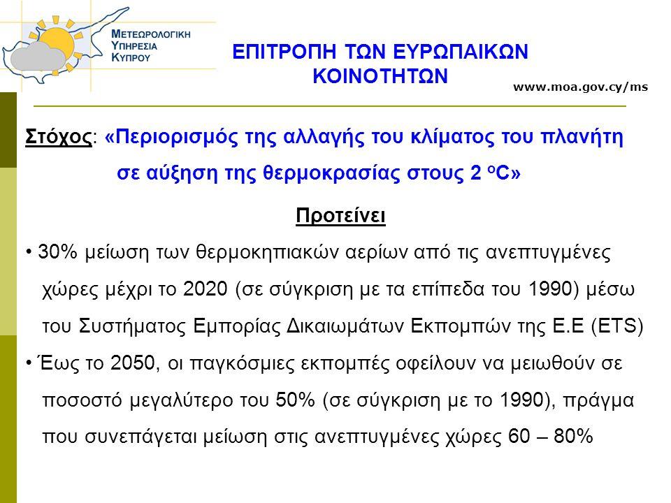 ΕΠΙΤΡΟΠΗ ΤΩΝ ΕΥΡΩΠΑΙΚΩΝ ΚΟΙΝΟΤΗΤΩΝ Στόχος: «Περιορισμός της αλλαγής του κλίματος του πλανήτη σε αύξηση της θερμοκρασίας στους 2 ο C» Προτείνει 30% μείωση των θερμοκηπιακών αερίων από τις ανεπτυγμένες χώρες μέχρι το 2020 (σε σύγκριση με τα επίπεδα του 1990) μέσω του Συστήματος Εμπορίας Δικαιωμάτων Εκπομπών της Ε.Ε (ETS) Έως το 2050, οι παγκόσμιες εκπομπές οφείλουν να μειωθούν σε ποσοστό μεγαλύτερο του 50% (σε σύγκριση με το 1990), πράγμα που συνεπάγεται μείωση στις ανεπτυγμένες χώρες 60 – 80% www.moa.gov.cy/ms