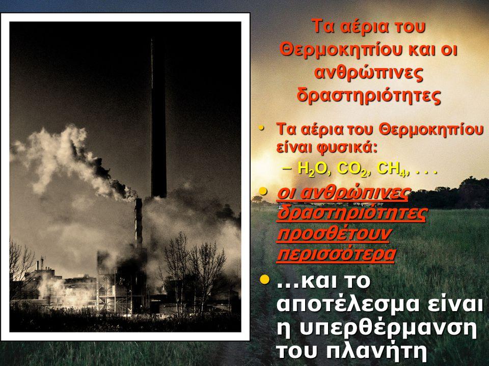 Tα αέρια του Θερμοκηπίου είναι φυσικά: Tα αέρια του Θερμοκηπίου είναι φυσικά: – H 2 O, CO 2, CH 4,...