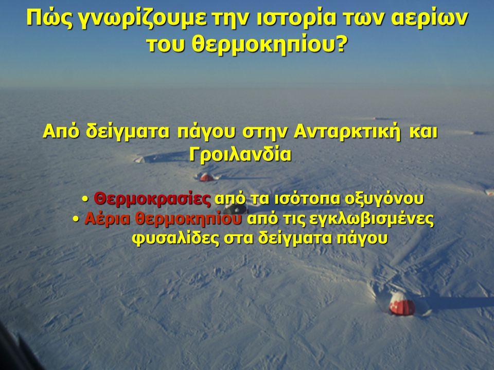 Από δείγματα πάγου στην Ανταρκτική και Γροιλανδία Θερμοκρασίες από τα ισότοπα οξυγόνου Θερμοκρασίες από τα ισότοπα οξυγόνου Αέρια θερμοκηπίου από τις εγκλωβισμένες Αέρια θερμοκηπίου από τις εγκλωβισμένες φυσαλίδες στα δείγματα πάγου φυσαλίδες στα δείγματα πάγου Πώς γνωρίζουμε την ιστορία των αερίων του θερμοκηπίου?