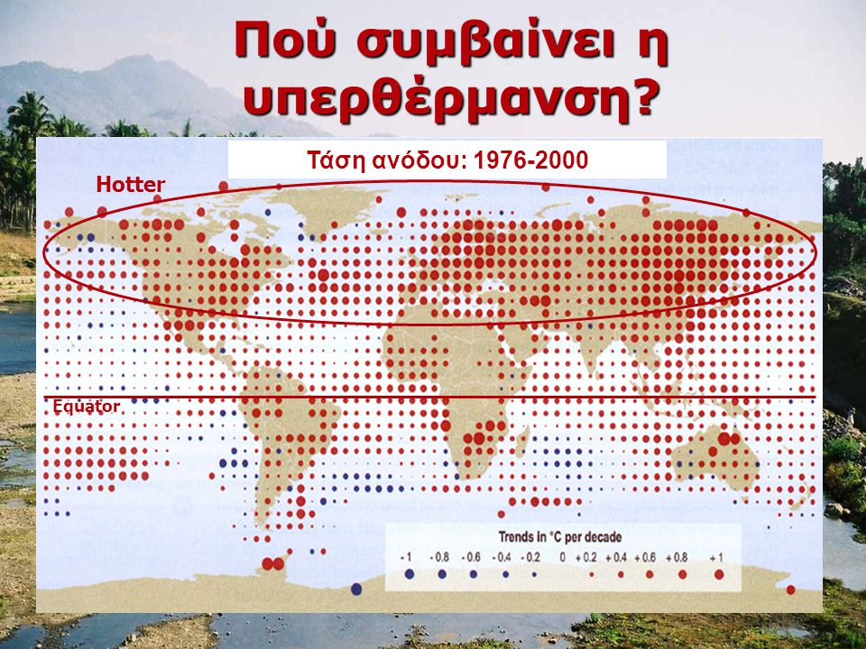 Πού συμβαίνει η υπερθέρμανση? Hotter Equator Τάση ανόδου: 1976-2000