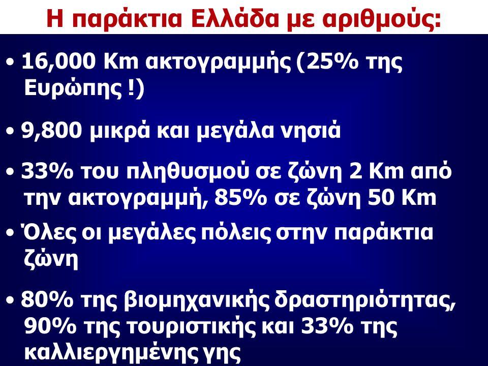Η παράκτια Ελλάδα με αριθμούς: 16,000 Km ακτογραμμής (25% της Ευρώπης !) 9,800 μικρά και μεγάλα νησιά 33% του πληθυσμού σε ζώνη 2 Km από την ακτογραμμή, 85% σε ζώνη 50 Km Όλες οι μεγάλες πόλεις στην παράκτια ζώνη 80% της βιομηχανικής δραστηριότητας, 90% της τουριστικής και 33% της καλλιεργημένης γης