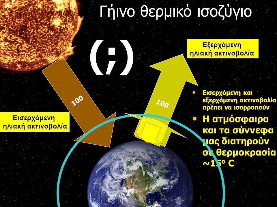 100 Εισερχόμενη ηλιακή ακτινοβολία Εξερχόμενη ηλιακή ακτινοβολία Γήινο θερμικό ισοζύγιο Εισερχόμενη και εξερχόμενη ακτινοβολία πρέπει να ισορροπούν Εισερχόμενη και εξερχόμενη ακτινοβολία πρέπει να ισορροπούν Η ατμόσφαιρα και τα σύννεφα μας διατηρούν σε θερμοκρασία ~15 ο C Η ατμόσφαιρα και τα σύννεφα μας διατηρούν σε θερμοκρασία ~15 ο C (;)