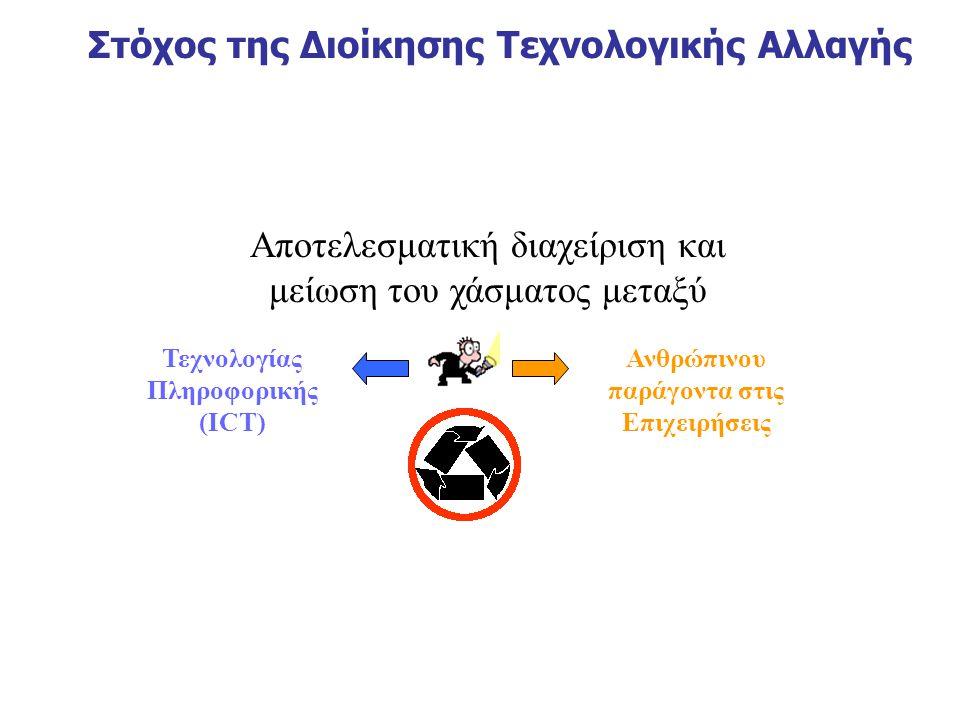 Στόχος της Διοίκησης Τεχνολογικής Αλλαγής Αποτελεσματική διαχείριση και μείωση του χάσματος μεταξύ Τεχνολογίας Πληροφορικής (ICT) Ανθρώπινου παράγοντα