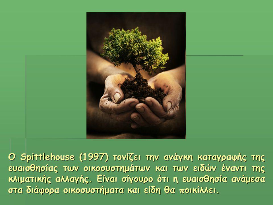 Ο Spittlehouse (1997) τονίζει την ανάγκη καταγραφής της ευαισθησίας των οικοσυστημάτων και των ειδών έναντι της κλιματικής αλλαγής.